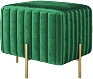 ZAIPP Velvet Footstool,Luxury Modern Upholstered Ottoman Foot Rest Stool Extra Seat Gold Legs Living Room Bedroom Decor-Green 45x42cm(18x17inch)