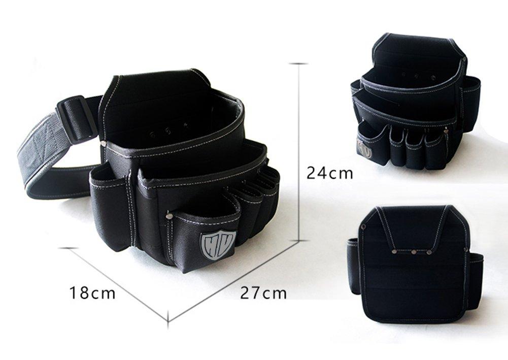 resistente y profesional Bolsa de herramientas multiusos con cintur/ón de nailon ajustable para trabajo en cintura