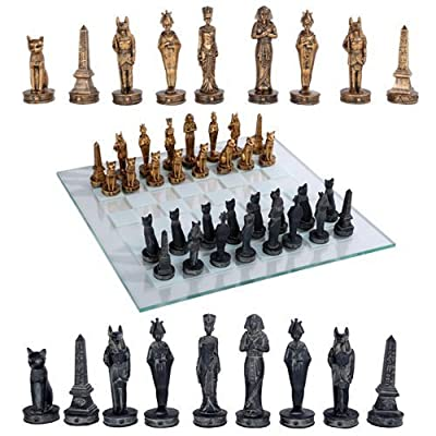 "Pacific Giftware Ancient Egyptian God Kingdom Civil War Chess Set with Glass Board 17"" x 17"" -33PCS [Gold & Black] [Obelisk, Anubis, Bastet, King TUT, Nefertiti, Osiris]: Toys & Games"