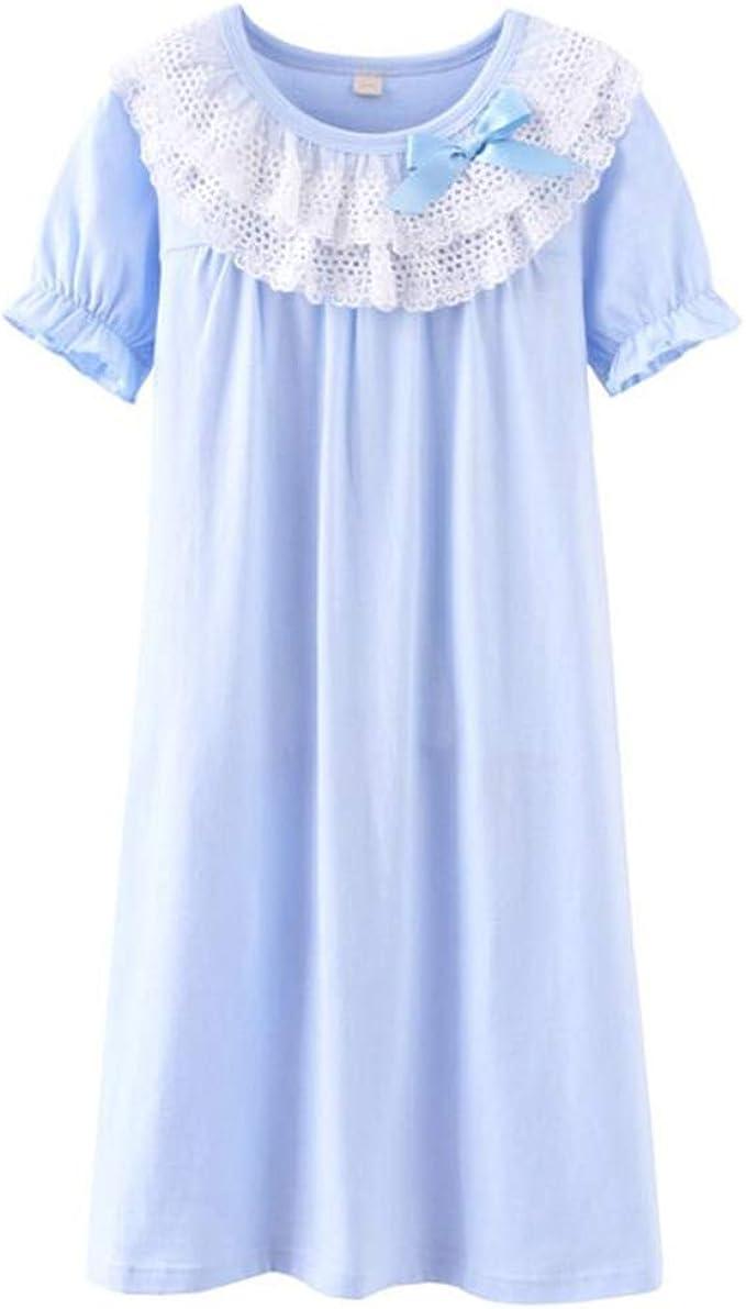 Camison Niña Encaje y Bowknot Manga Corta Algodón Pijamas Princesa Camisones de Niña: Amazon.es: Ropa y accesorios