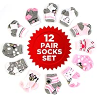 Disney Baby Girls Minnie Mouse Character Assorted Color 12 Pair Socks Set, Multi-Color, Age 0-24 Months