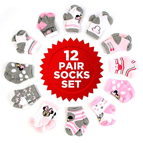 Disney Baby Girls Mickey & Minnie Mouse Assorted Color Pair Socks Set, Pink, White, Grey Collection, 6-12 Months
