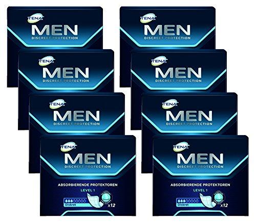 TENA MEN Level 1 - Inkontinenzeinlagen für Männer mit leichter Blasenschwäche / Inkontinenz - an männliche Anatomie angepasste Einlagen - Vorteilspack (96 Hygiene-Einlagen)