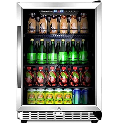 "Sinoartizan 24"" Compressor Beverage cooler 154 Can Single Zone ST-54BC Built-In and Freestanding Fridge with Fan Cooling,Triple-Layer Tempered Glass Door"