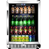 Sinoartizan 24'' Compressor Beverage cooler 154 Can Single Zone ST-54BC Built-In and Freestanding Fridge with Fan Cooling,Triple-Layer Tempered Glass Door