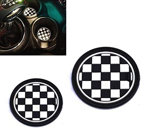 2 73mm Black//White Checkered Checkerboard Pattern Soft Silicone Cup Holder Coasters For MINI Cooper R55 R56 R57 R58 R59 Front Cup Holders VCiiC