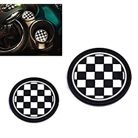 VCiiC (2 73mm Black/White Checkered Checkerboard Pattern Soft Silicone Cup Holder Coasters for Mini