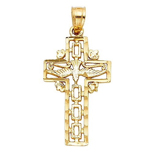 (Cross with Holy Spirit Dove Pendant 14k Yellow Gold Christian Charm Solid Design Genuine 25 x 11 mm)