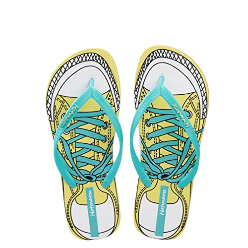 Hotmarzz Women's Glasses Printing Summer Colorful Beach Slippers Flip Flops Sandals Size 8 B(M) US / 39 EU / 40 CN, Glasses Pink
