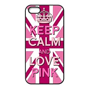 LIULAOSHI Keep Calm and Love Pink Phone Case for iphone5s Black [Pattern-4] by Maris's Diary