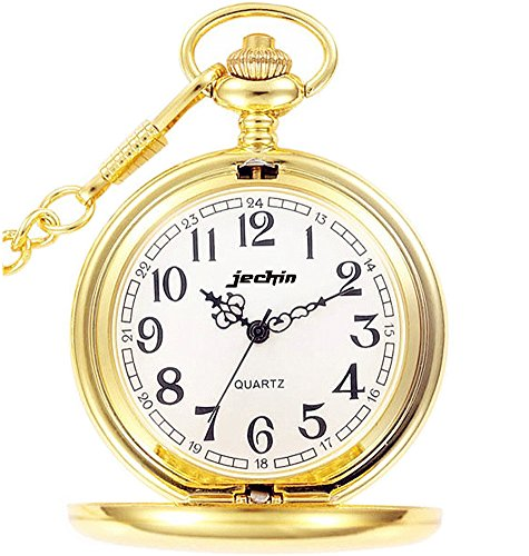 Jechin+Classic+Big+Dial+Quartz+Pocket+Watch+Hunter+Case%2C+14%27%27+Chain%2C+Comes+in+Gift+Box+%28Gold%29