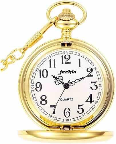 Jechin Classic Big Dial Quartz Pocket Watch Hunter Case, 14'' Chain, Comes in Gift Box (Gold)