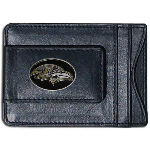 Baltimore Ravens Black Leather - Baltimore Ravens Black Leather Money Clip with Cardholder
