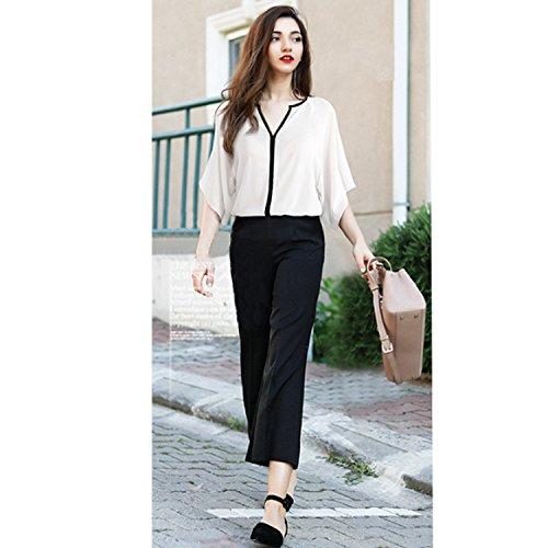 Bluse Camicetta Elegante V Pipistrello Scollo Estate Donne Camicia Casual Bianco a Manica Tops Camicie Sciolto JLTPH Camicetta OqR4p4P