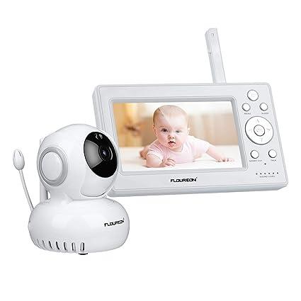 FLOUREON Moniteur B/éb/é sans Fil 2.4GHz Babyphone /Écran LCD 2.0 Pouces Babyphone avec Cam/éra Vision Nocturne Grand Angle de Vue Temp/érature Surveill/ée Berceuses Int/égr/és Cam/éra Surveillance pour