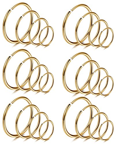 Lots Lips - LOYALLOOK 18Pcs 20G 316L Stainless Steel Nose Ring Hoop Cartilage Hoop Septum Piercing 6-12mm (J:24PCS Gold Tone)