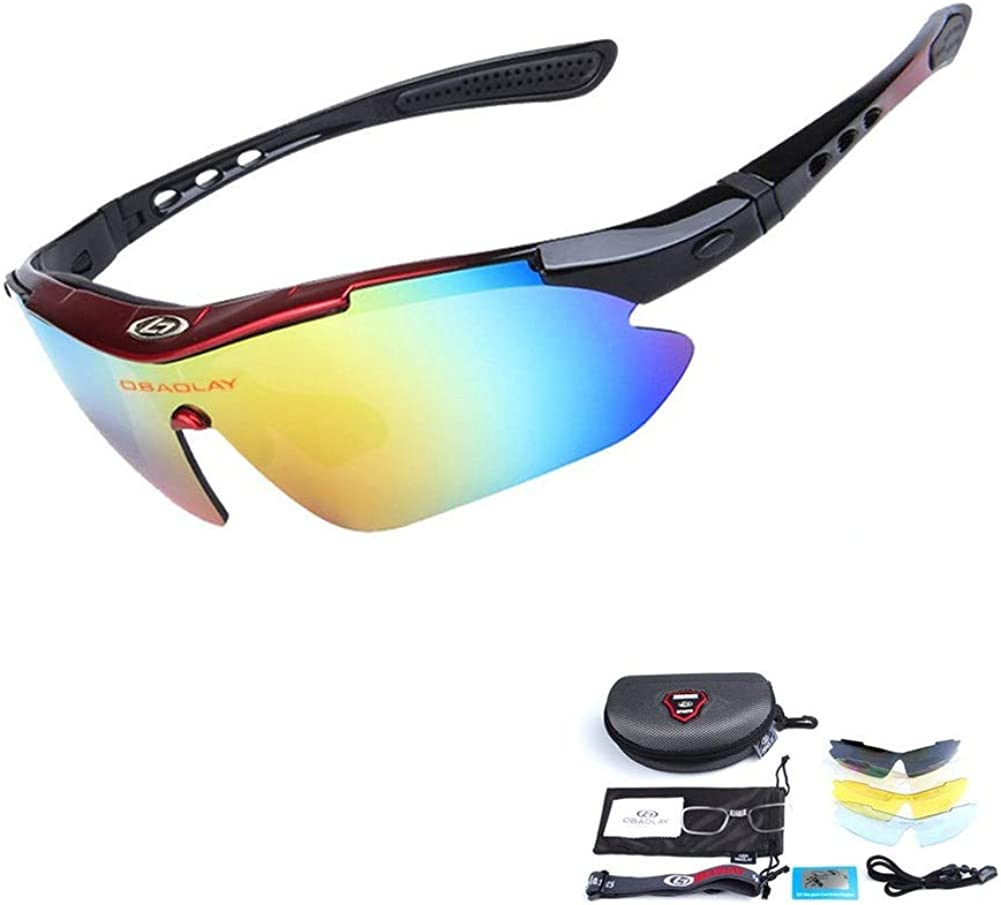 Polarized Sports Sunglasses Cycling Baseball Fishing Golf Sunglasses With 5 Interchangeable Lenses and myopia frame
