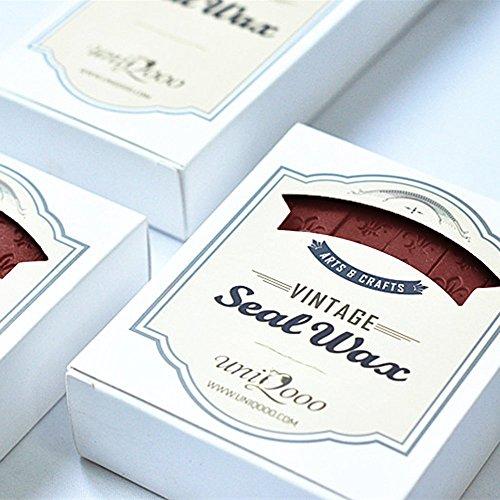 Uniqooo 12Pcs 3 1 2  Burgundy Carved Wax Sealing Stick Wedding Invitation Seal Stamp