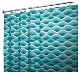 InterDesign Waves Fabric Shower Curtain, Blue and Green, 72-Inch by 72-Inch