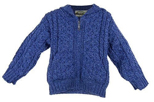 Irish Merino Wool Hooded Aran Children's Zip Sweater (Beautiful Baby Wool Sweater)