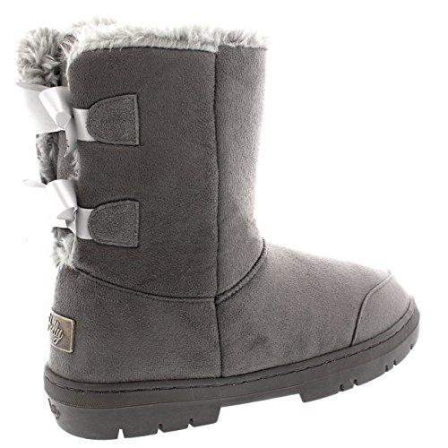 Botas Twin Invierno Nieve Fur Tall Classic Rain Bow Impermeable Mujer Gris zAxBwZUw
