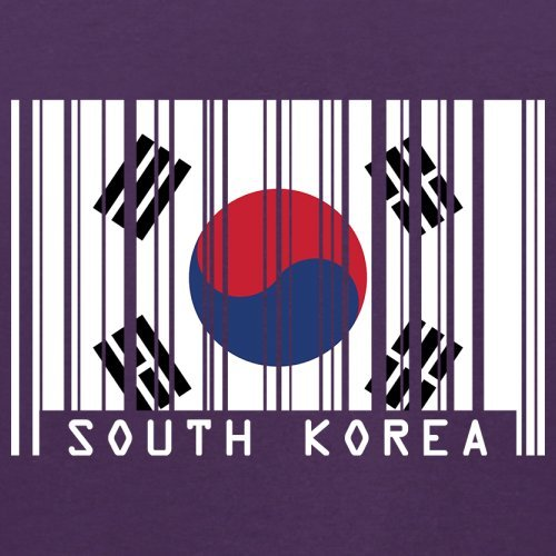 South Korea / Südkorea Barcode Flagge - Herren T-Shirt - Lila - S