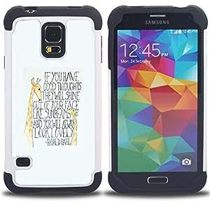 """SAMSUNG Galaxy S5 V / i9600 / SM-G900 - 3 en 1 impreso colorido de Altas Prestaciones PC Funda chaqueta Negro cubierta gel silicona suave (Jirafa inspiración Niños Cita texto"""")"""