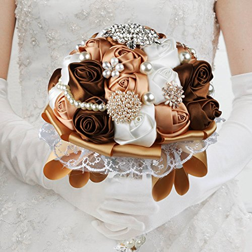 vLoveLife Advanced Wedding Bridal Bridesmaid Holding Bouquet Artificial Satin Rose Flower Handmade Posy Pearl Rhinestone Diamonte Lace Ribbon Decor, White + Champagne + - Brown Champagne