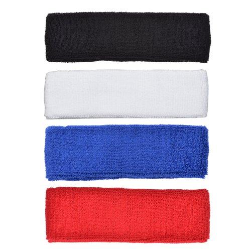 COSMOS ® 4 PCS Different Color Cotton Sports Basketball Headband /Sweatband Head Sweat Band/Brace