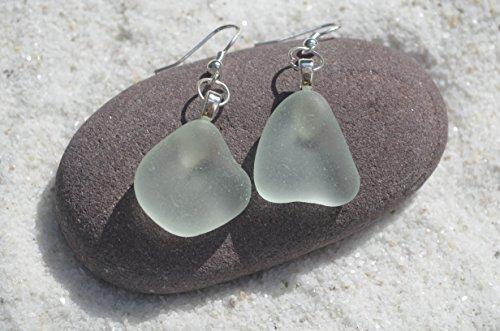 Pale Sea Foam Sea Glass Dangling Earrings