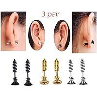 TKOnline 3 Pair Women's Men's Unisex Titanium Steel Piercing Cross Screws Ear Stud Earrings