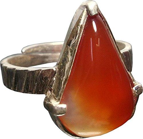 Aldomin Natural Orange Hakik (Agate) Crystal Adjustable Ring In .925 Sterling Silver 01