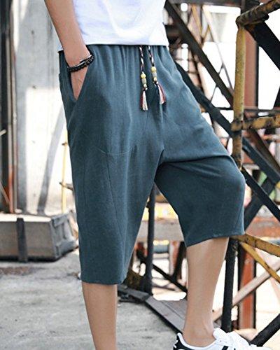 Léger Pantacourt Homme Décontracté Confortable Large Vert Shorts Respirant Sarouel Bermudas Foncé Lin Pantalon En RBwWqdw60
