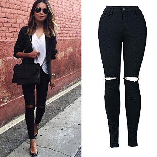 Gusspower Denim Pantalones Jeans Rotos Vaqueros Push Up Vaqueros Elásticos para Mujer Negro