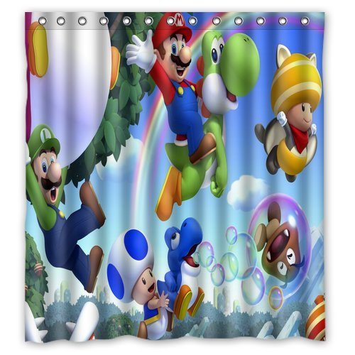 ScottShop Custom Super Mario Shower Curtain Decoration High Quality Waterproof Polyester Fabric Bathroom Shower Curtains 66