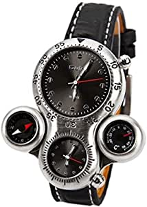 Oulm 1149 GMT Dual Time Display, Thermometer & Compass (Black)