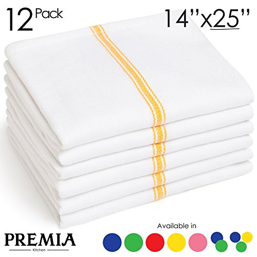 Dish Towels (12 Units) • Commercial Kitchen Towel • Absorbent 100% Cotton Herringbone (14''x25'') • Commercial Quality: 24 oz/dz • Premia Classic Tea Towels in Yellow Stripes • Low Lint by Premia Kitchen (Image #3)