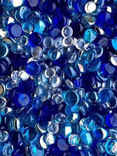 WeJe Glass Gems Standard 17-21mm Round Flat Back Marbles for Home Decor Art Craft Vase Filler Aquarium (14oz, Ocean Blue Mix) ()