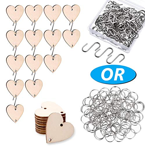 Onwon 100 Pieces Wooden Heart Tags Discs with 2 Holes & 100 Pieces S Hooks or Rings Connectors for Your DIY Projects Such as Birthday Boards, Chore Boards and Crafts, Diameter is 30 mm/ 1.2 inches