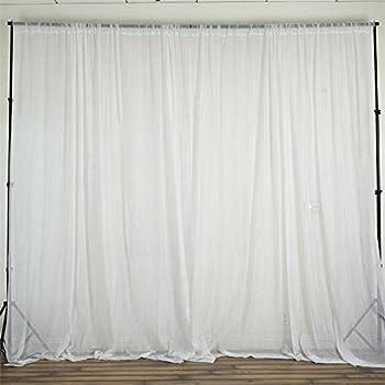 BalsaCircle 10 Feet X 10 Feet Sheer Voile Backdrop Drapes Curtains Panels    White