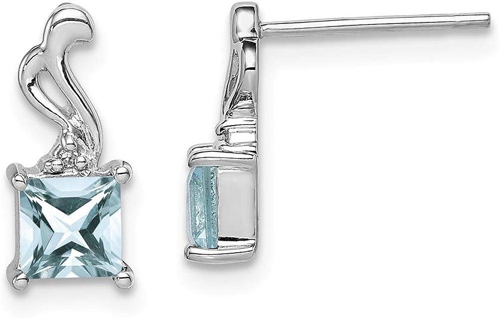 Pendientes de poste cuadrados de plata de ley 925 chapados en rodio con diamante de aguamarina