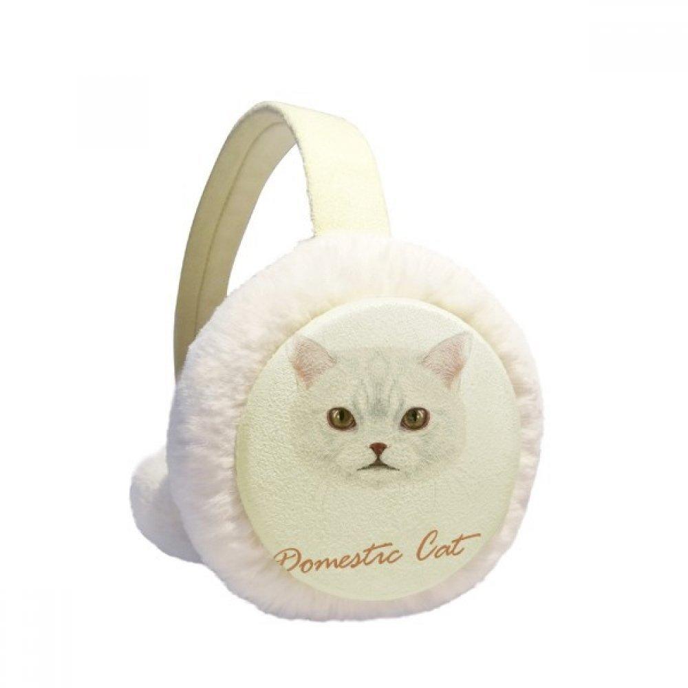 White Domestic Cat Pet Animal Winter Earmuffs Ear Warmers Faux Fur Foldable Plush Outdoor Gift