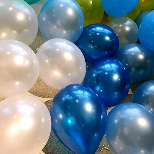 Pearl Balloons 72-Count 12 2.8g Thicked Latex Balloons Baby Shower Birthday Party Wedding Decoration(Blue&Light Blue& White)