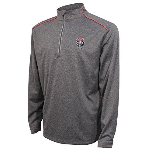 Crable NCAA New Mexico Lobos Men's Quarter Zip with Shoulder Piping Polo, Medium, Black/Red