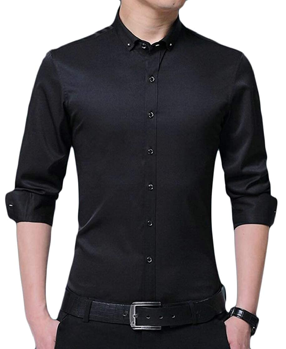 M/&S/&W Mens Formal Solid Long Sleeve Non-Iron Button Spread Collar Dress Shirts