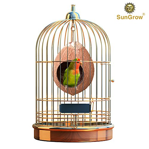 Amazon.com : Natural Coconut Shell Bird House   Treat Dispenser Home    Encourages Foot And Beak Exercise   100% Natural Coconut Husk   Durable U0026  Sturdy ...