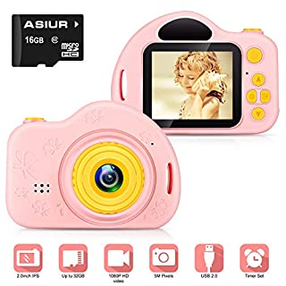 ASIUR Digital Camera for Kids,FHD Kids Digital Video Gift Camera 1080P with 16GB SD Card for 3-10 Years Girls