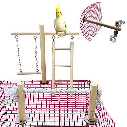 PINVNBY Parrot Climbing Ladder Swing Toy Natural Wood Bird Cage Play Gyms Playground Stand Rope Perch for Parakeet…