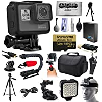 GoPro HERO5 Hero 5 Black Edition Action Camera with 64 GB MicroSD + Charger + Card Reader + Large Case + Handle + Tripod