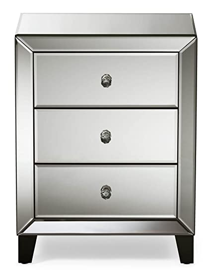 . Amazon com  Modern and Contemporary Mirrored 3 Drawers Nightstand